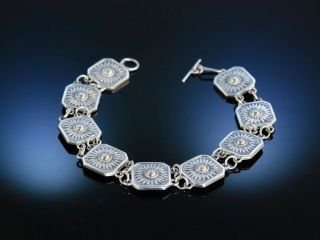Vintage Silver Bracelet Sunflower Armband Silber Sonnenblumen Motiv Um 1950 Bild
