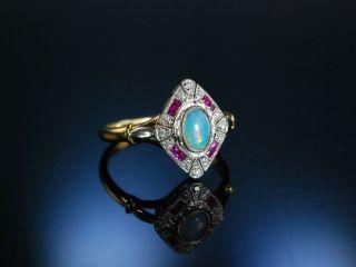 SchÖner Opal Ring Gold 750 Schiffchen Navette Art Deco Stil Rubine Brillanten Bild