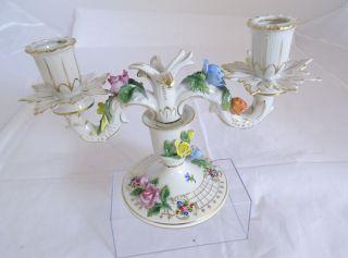 Antiker Potschappel Kerzenhalter 2 - Flammig Dresden Polychrome Blütenauflagen Bild