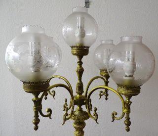 Seltene Empire Stehlampe 5 - Flammig Glaskugeln Herrlich Verziert 1,  72m Bild