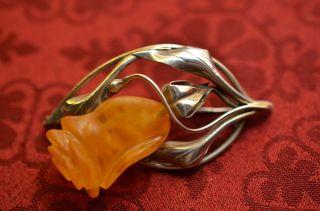 Alte Schöne Ausgefallene Silber Bernsteinbrosche Amber Bild