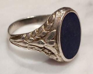Eleganter Lapis Lazuli Ring Silbering Silber 925 Jugendstil Siegelring Gr 62 /63 Bild