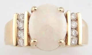 Opal - Diamant - Ring,  Gelbgold 14k Bild