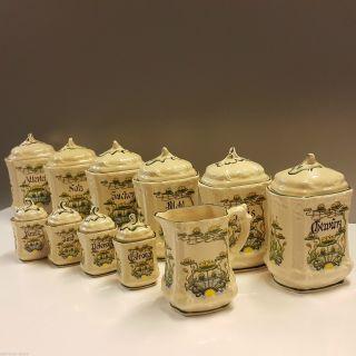 Herr Fayence 10 Keramik Gewürzdosen Dose Vorratsbehälter Handbemalt Seerosen Bild