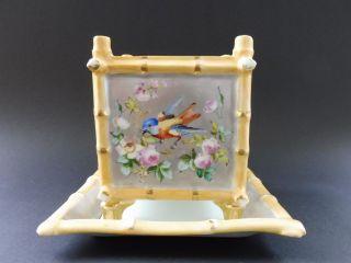 Jugendstil Porzellan Übertopf Floral Bambus Vogel Art Nouveau Cachepot Bamboo Bild