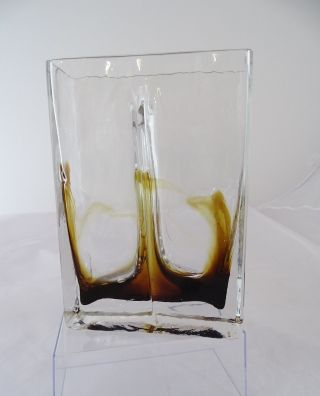 Panton Ära Ausgefallene Doppelwandige Design Vase Glas Blumenvase Blockvase 70er Bild
