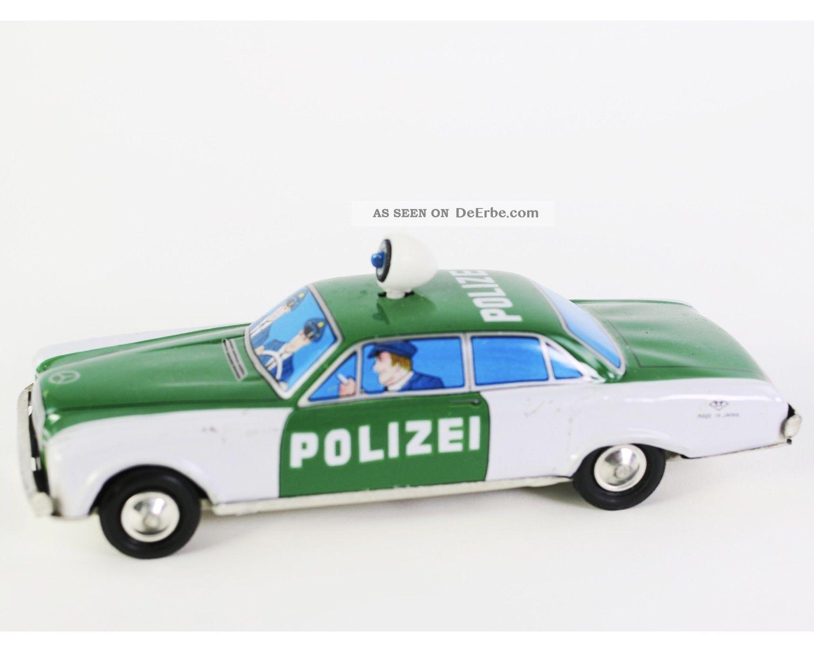Polizei Blechauto 60er/70er Schwungmotor Rotierendes Blaulicht Made In Japan Original, gefertigt 1945-1970 Bild