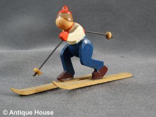 Erzgebirge Volkskunst Kleine Alte Holzfigur Skiläufer Skifahrer 4,  5 Cm Bild
