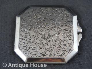 Kleine ältere Puderdose Silber 835 Achteckig Bild