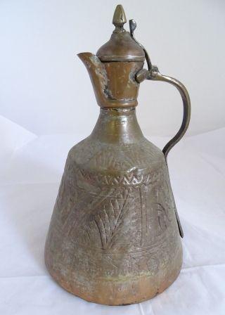 Große ältere Orientalische Kanne Schenkkanne Mit Tollen Orient Motiven Verziert Bild