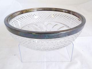 Ausgefallene Antike Spahr Blei Kristall Glas Schale Mit 1000er Silber Montur Bild