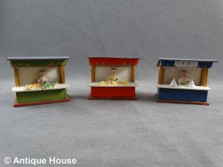 Erzgebirge Volkskunst Holz 3 Kleine Alte Marktstände Mit Figuren Miniatur - Rar Bild