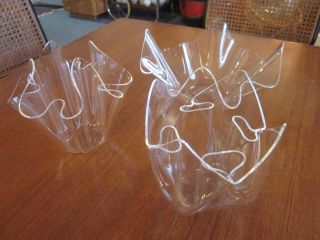 Guzzini 3 Fazzoletto Plexiglas Vasen Lucite Handkerchief Mouchoir 70er Bild