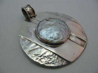 Handarbeit Großer 60er 70er Jahre Perlmutt Designer Anhänger Aus 925 Silber Bild