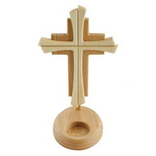Standkreuz / Stehkreuz Holz 2farbig & Mulde Für Teelicht 24 X 14 Cm - Altarkreuz Bild