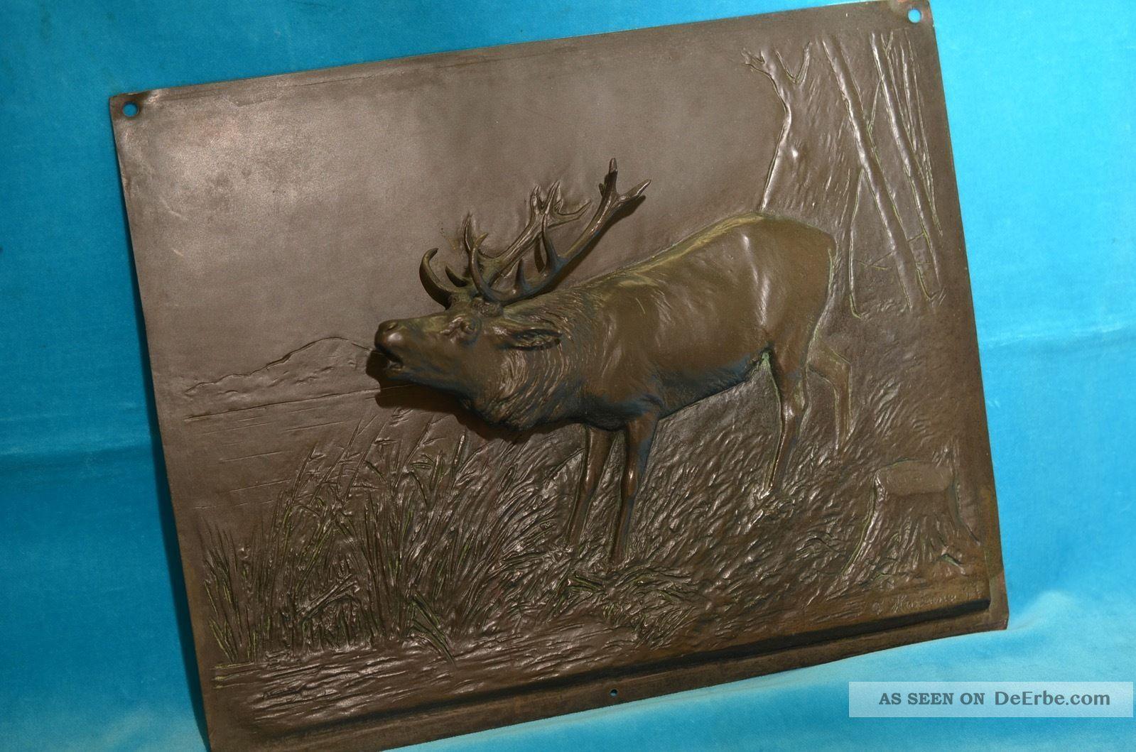 Schönes Dekoratives Dreidimensionales Bronze Relief Hirsch Jagdbild Bronze Bild