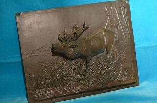 Schönes Dekoratives Dreidimensionales Bronze Relief Hirsch Jagdbild Bild