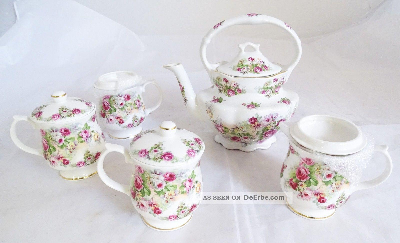 Royal Victorian Fine Bone China England Teekanne,  4 Becher Blumendekor Nach Marke & Herkunft Bild
