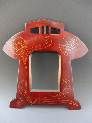: Jugendstil Foto Rahmen Schmetterling Frame Floral Art Nouveau Butterfly Wooden Bild