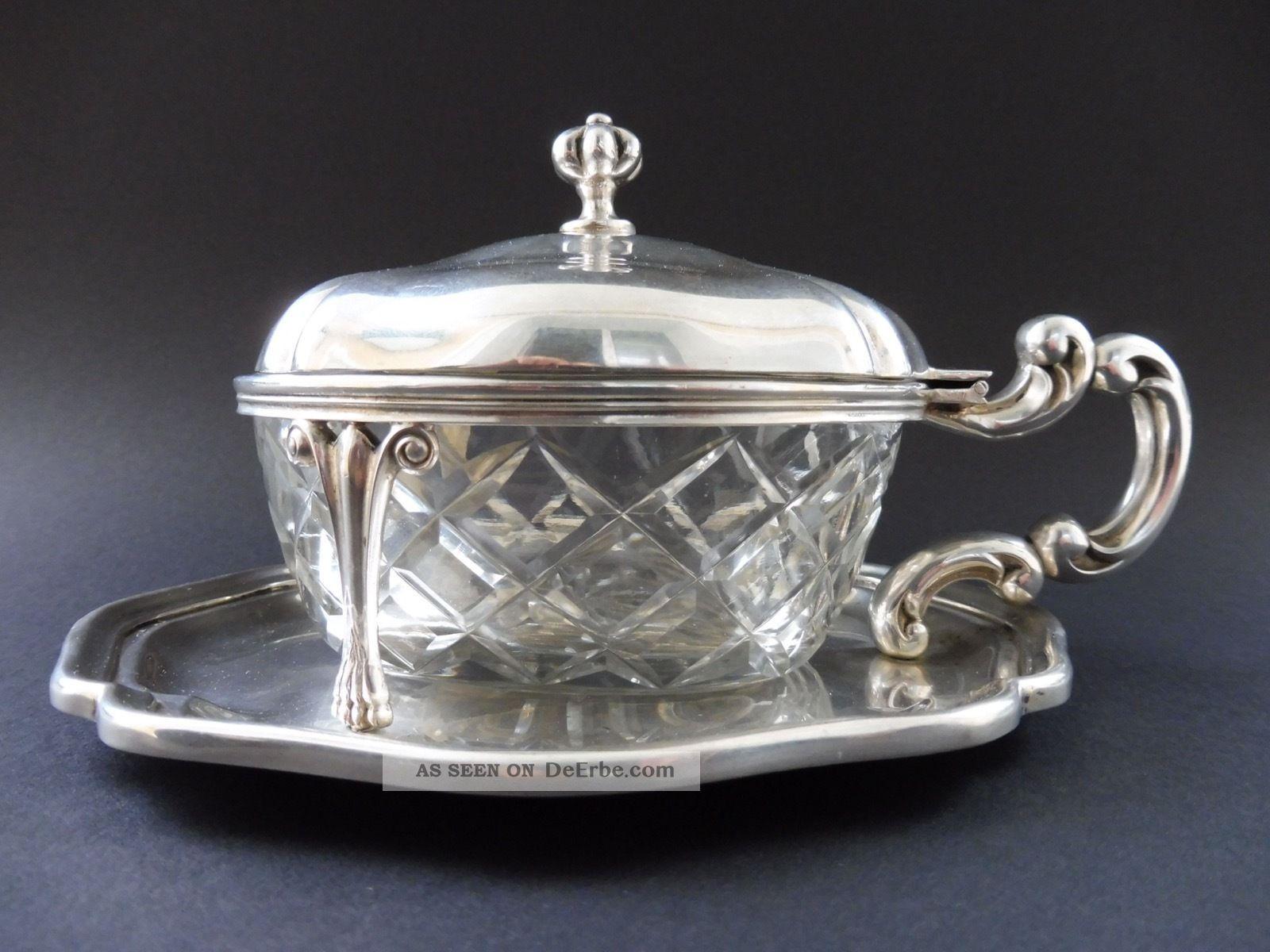 800 Silber Jugendstil Art Deco Honig KonfitÜre Dose Art Nouveau Vessel Glas Top Objekte vor 1945 Bild