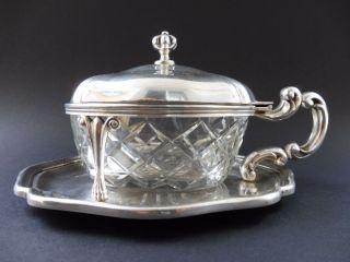800 Silber Jugendstil Art Deco Honig KonfitÜre Dose Art Nouveau Vessel Glas Top Bild