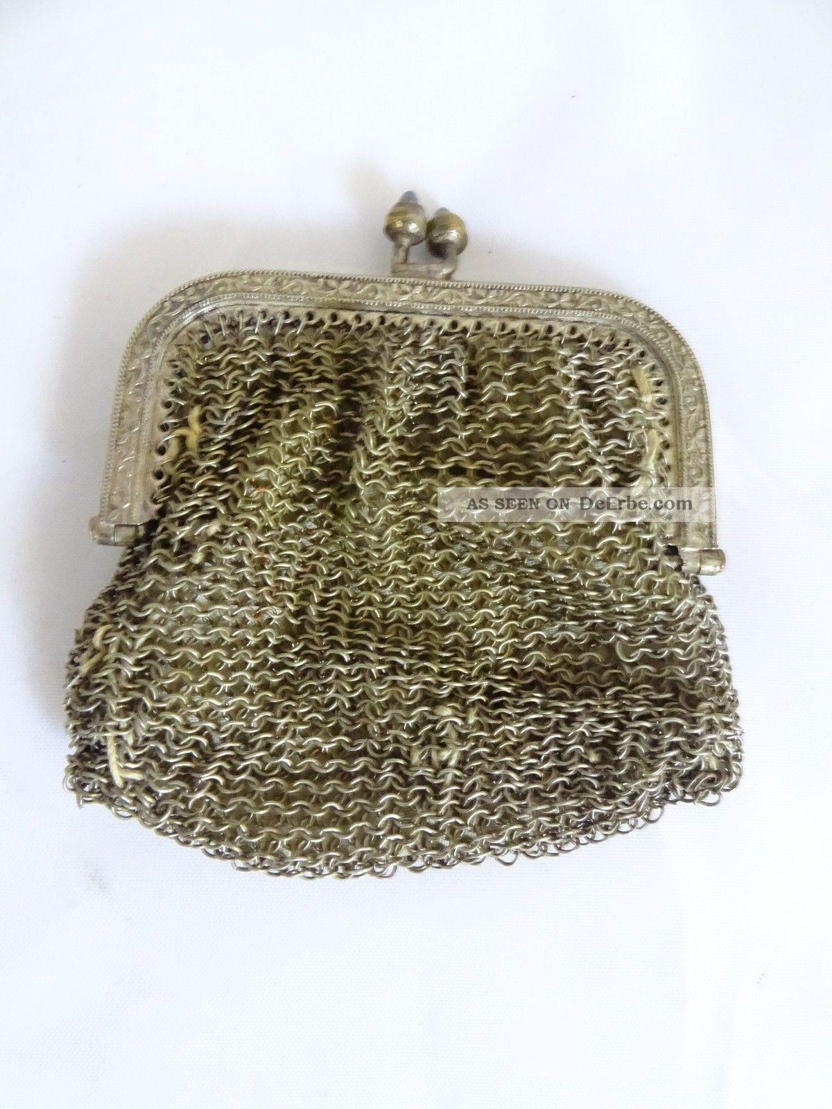 Seltener Miniatur Geldbeutel Alpacca Versilbert Damen Vintage Geldbörse Tasche Accessoires Bild