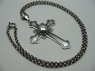 Serhr Schöner Großer Kreuz Anhänger Aus 830 Silber Mit Erbskette Aus 835 Silber Bild