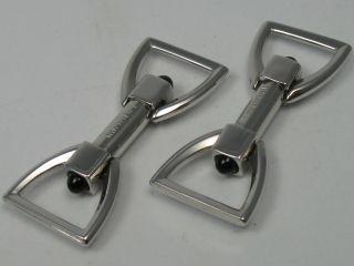 Champion Seltene Klappbare Manschettenknöpfe Aus 835 Silber Mit Onyx Bild