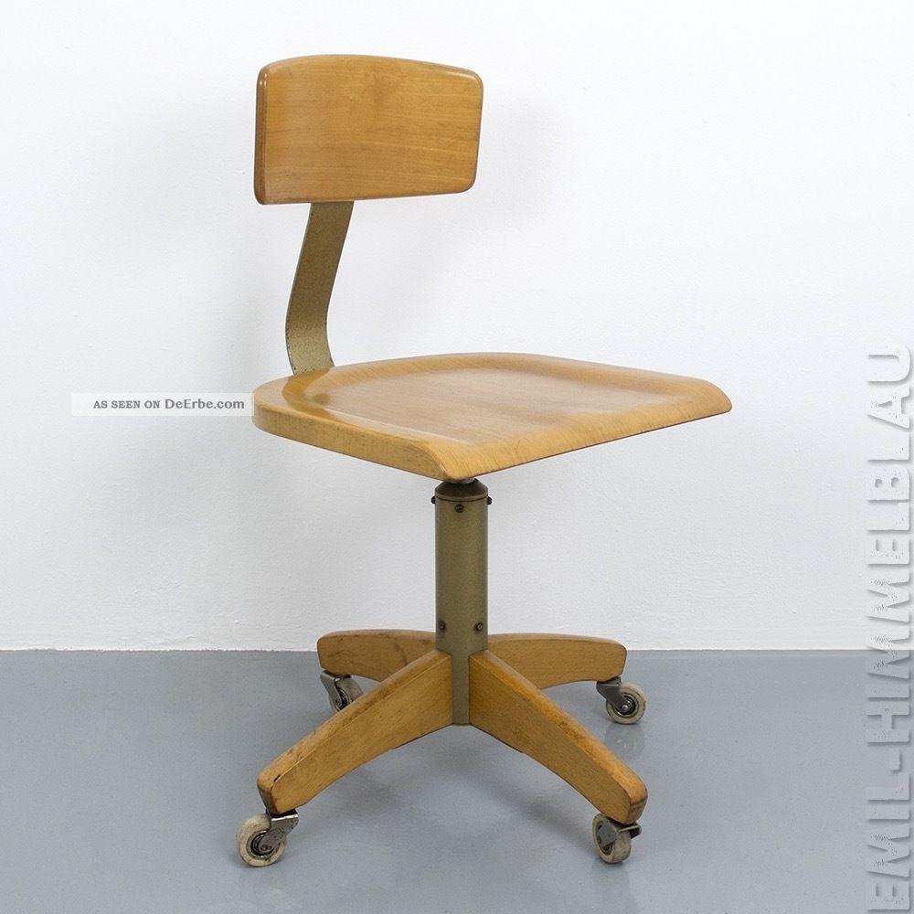3 Alt Werkstatt BÜro Stuhl Ama Elastik 364r Architektenstuhl Industrie Vintage 1920-1949, Art Déco Bild