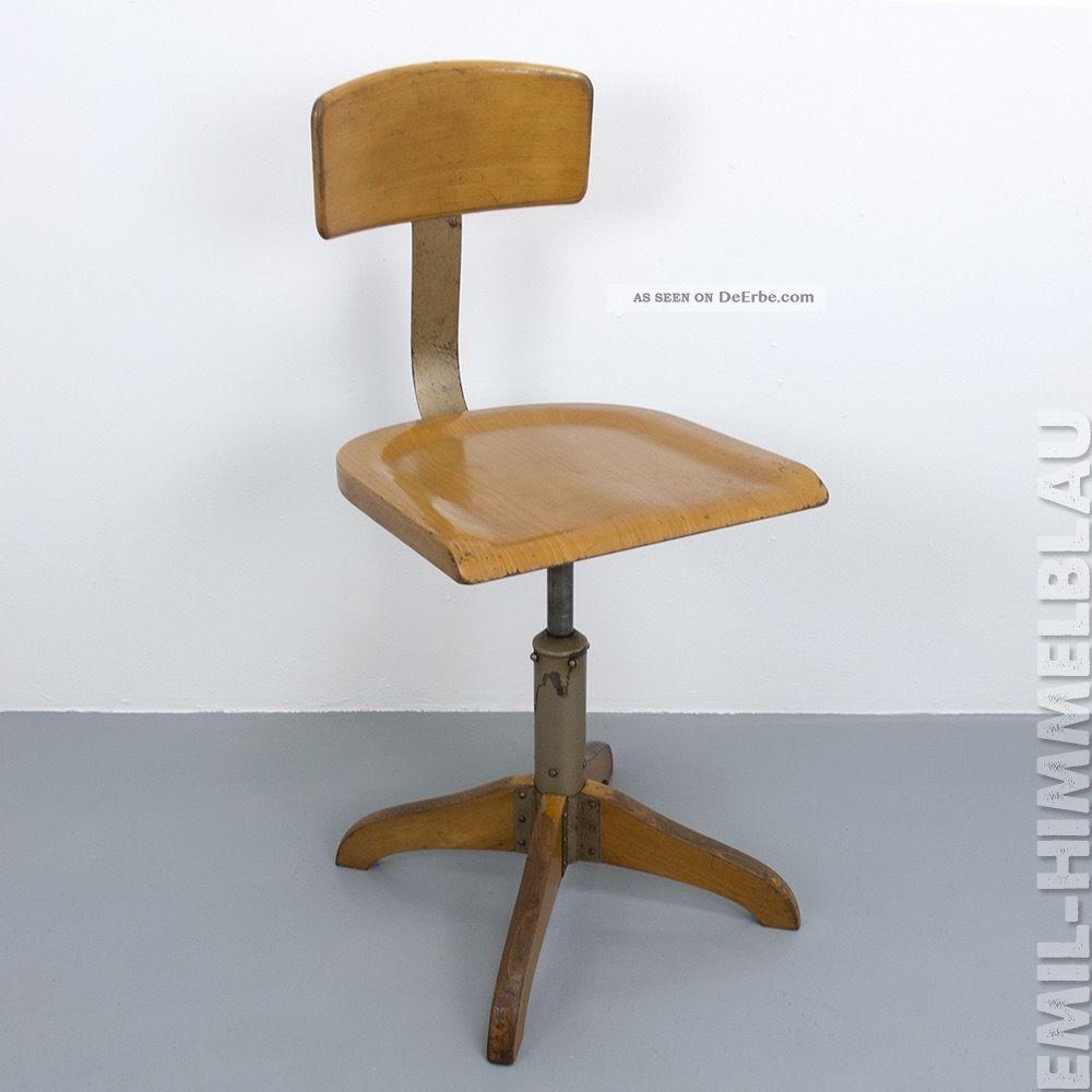 1 Alt Werkstatt BÜro Stuhl Ama Elastik 364 Architektenstuhl Industrie Vintage 1920-1949, Art Déco Bild