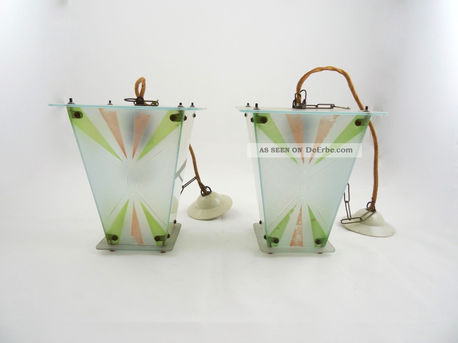 Paar art deco lampen bauhaus laternen geometrisches for Lampen bauhaus