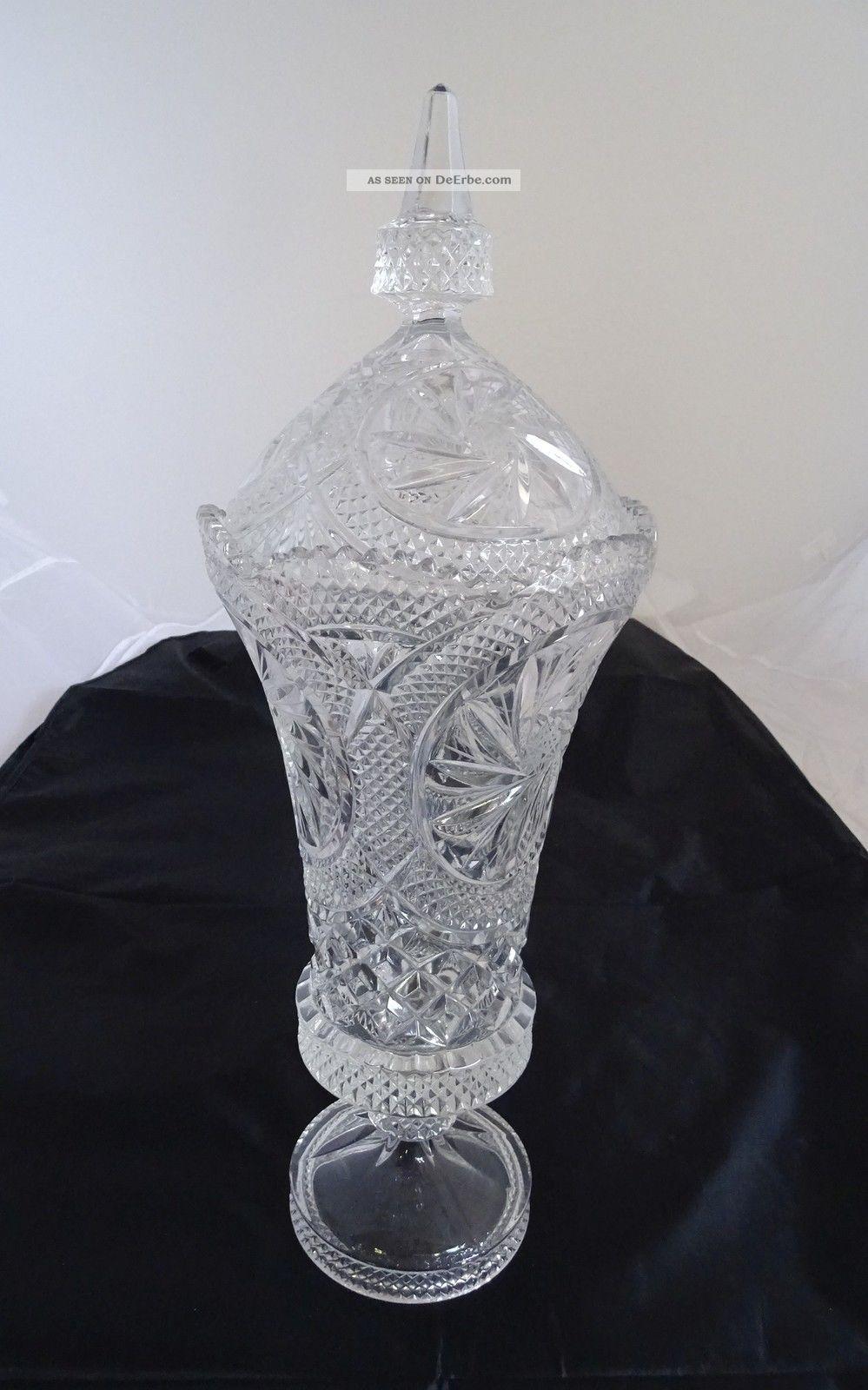 Riesige Alte Blei Kristall Glas Deckel Pokal Vase Fußvase Ca.  47 Cm Kristall Bild