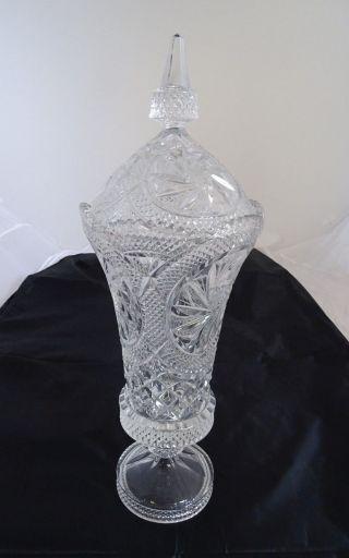 Riesige Alte Blei Kristall Glas Deckel Pokal Vase Fußvase Ca.  47 Cm Bild