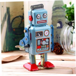 Vintage Mechanical Clockwork Wind Up Metal Walking Robot Tin Toy Kids Gift Ss Bild