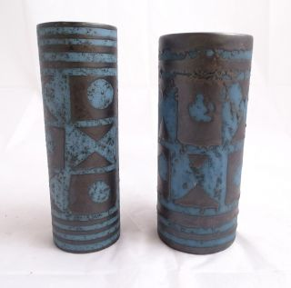 Paar Studio Design Panton Ära Vasen Mit Ausgefallenem Muster Blau Schwarz Bild