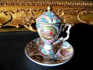 1 Antikes Porzellan Sammel - Gedeck - Tasse - Handarbeit - RaritÄt Bild