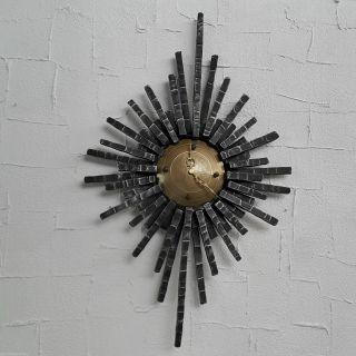 Vintage Modern Brutalist Metall Wanduhr Schmiedeeisen Modernist 70er Space Age Bild