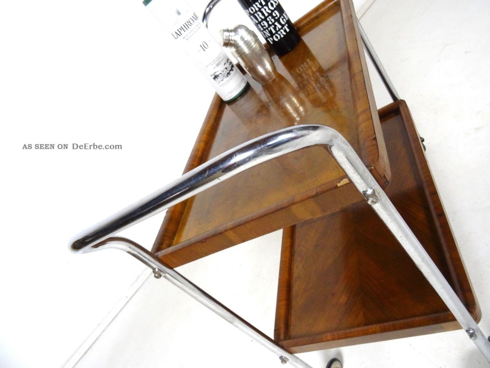 eleganter 30er art deco barwagen bauhaus servierwagen chrom holz 1930. Black Bedroom Furniture Sets. Home Design Ideas