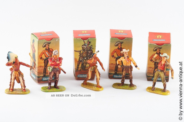 Va 33559 Elastolin Hartplastik Altbemalung Cowboy Indianer,  Boxen Gefertigt nach 1945 Bild