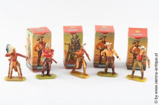 Va 33559 Elastolin Hartplastik Altbemalung Cowboy Indianer,  Boxen Bild