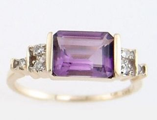 Amethyst - Diamant - Ring,  Gelbgold 14k Bild