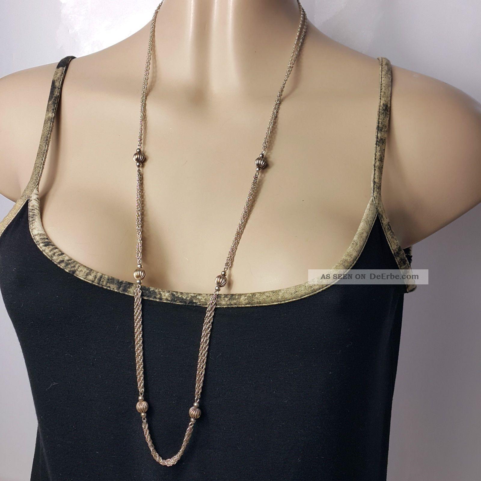 Halskette 925 Silber 92cm Art Deko Design Doppelte Kordelkette Mit Kugeleinlage Schmuck nach Epochen Bild