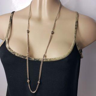 Halskette 925 Silber 92cm Art Deko Design Doppelte Kordelkette Mit Kugeleinlage Bild