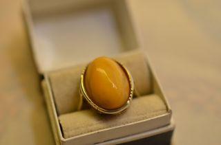 Schöner Jugendstil Bernsteinring Amber Butterscotch Gold 333 Bild