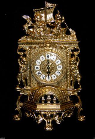 Tischuhr Messing Kaminuhr Antik Barock Gold 42cm Massiv Repro Quarz Bild