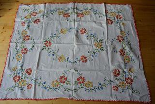 Bestickte Tischdecke Decke Weiß Blumen 145 X 113 Cm Bild
