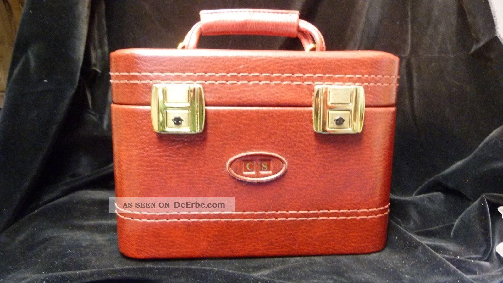 Vintage Kosmetikkoffer - Beauty Case - Rot - Kunstleder - 70er / 80er Jahre Accessoires Bild