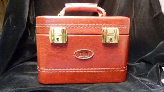 Vintage Kosmetikkoffer - Beauty Case - Rot - Kunstleder - 70er / 80er Jahre Bild