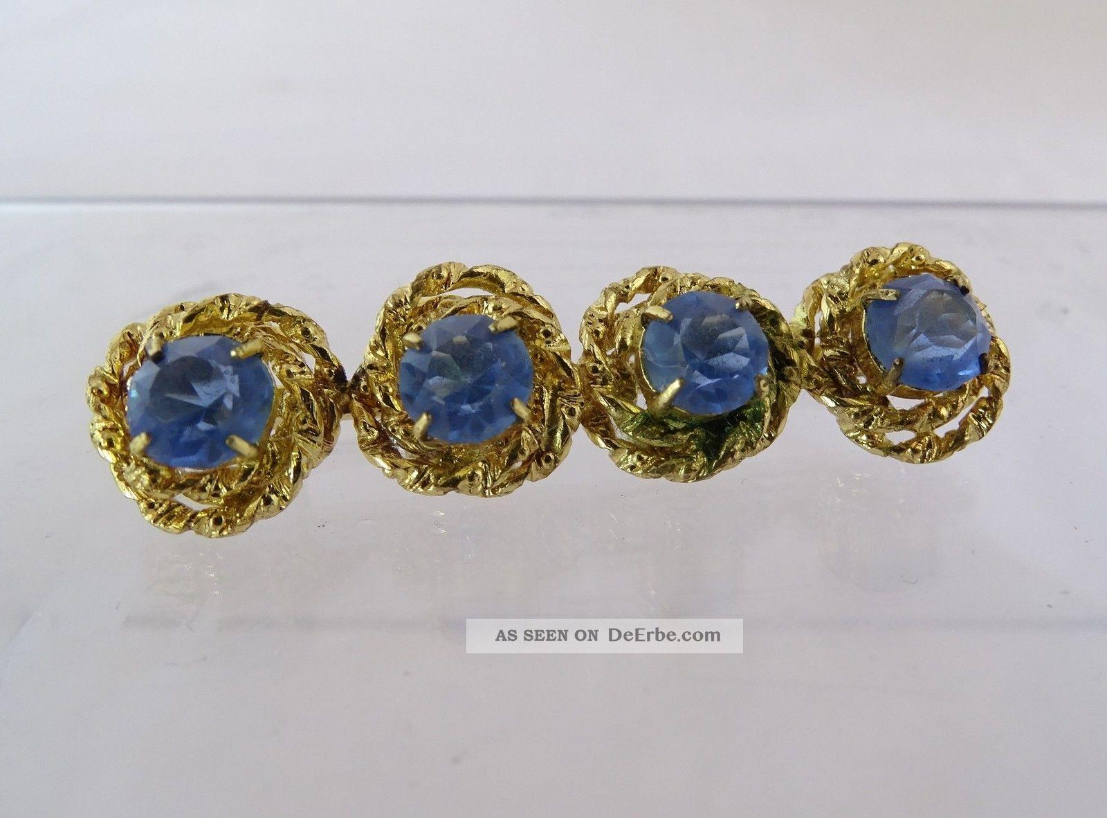 Traumhafte Jugendstil Ansteck Brosche Mit 4 Blauen Steinen Schmuck nach Epochen Bild