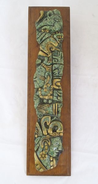 Zarebski Mexico Maya Motiv Relief Skulptur Auf Holzplatte Rarität Bild